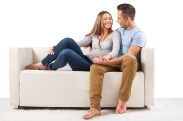 Smiling Couple on the Couch