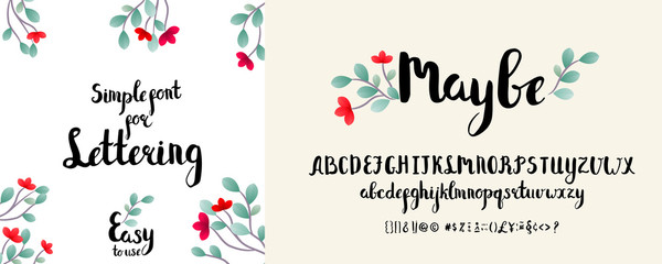 Modern calligraphy alphabet. Handwritten brush letters. Hand lettering font for your design: wedding calligraphy, logo, slogan, decor postcard, greeting, motivation quotes, positive message