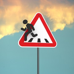 3d rendering of triangle road sign with pedestrian icon that run away out the frame