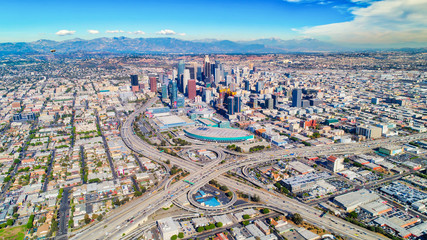 Aerial shot of downtown Los Angeles, ca.