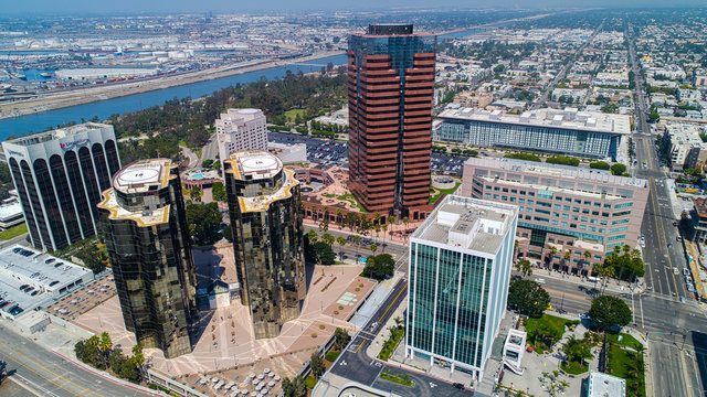 Aerial view of downtown Long Beach, Ca.
