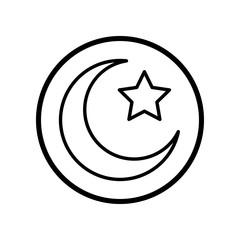 Islamic Icon, Crescent star icon-Vector Iconic Design