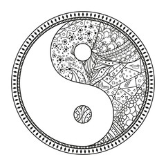 Yin and Yang. Religion symbol. Zentangle. Hand drawn mandala on isolation background. Design for spiritual relaxation for adults. Black and white illustration for coloring. Zen art. Decorative style