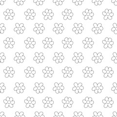 Black and White Ditsy Pattern with Small Flowers for Seamless Texture. Feminine Ornament for Textile, Fabric, Wallpaper.