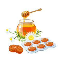 Cough drops. Sore throat remedy, package of lozenges, herbs and honey. Vector illustration cartoon flat icon isolated on white.