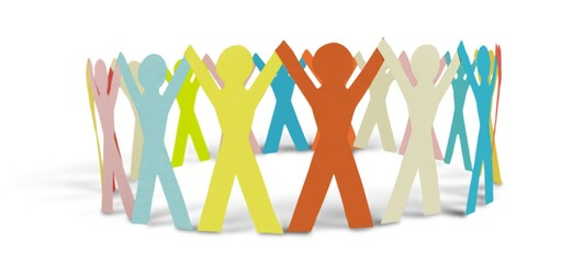 Colorful Paper People in a Circle Holding Hands