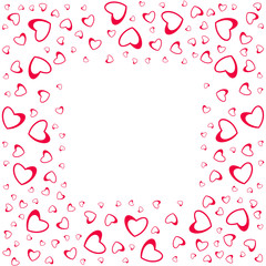 abstract love frame from a pattern of hearts. For greeting cards, invitations Valentine's day, wedding, birthday.