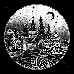 Snowy winter landscape. The village chapel and forest on Christmas eve seasons night, New Year