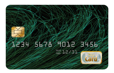 Blank credit card or debit card with chip, number and generic logo on a white background. You fill in the name of card, type of card, etc.