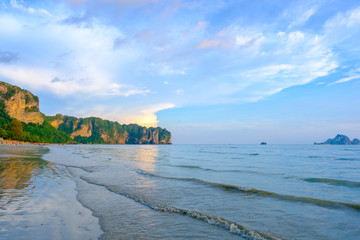 Mountain the sea beach landscape with sunset at Khao Laem Ya National Park Rayong, Thailand