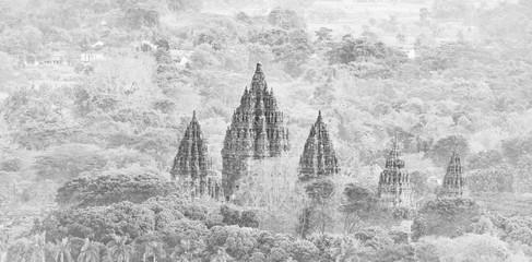 Prambanan Temple Monochrome