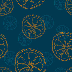 Seamless PATTERN with contour blue and orange lemon slice on blue background. Vector.