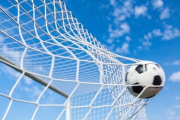 Fototapeta A Soccer Ball in a Net