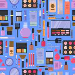 Vector flat style makeup and skincare pattern or background