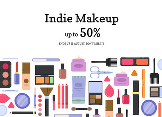 Vector flat style makeup and skincare sale background