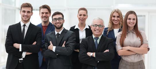 closeup portrait of a leading business team.