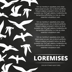 Blackboard poster with white flying birds silhouettes