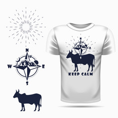 t-shirt design with Vector cow silhouette view side and compass