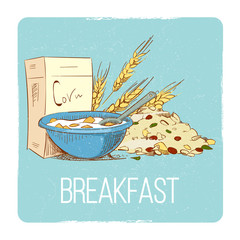 Healthy breakfast concept - hand drawn porrige cereals wheat muesli