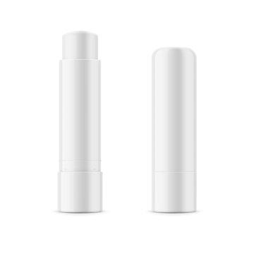 White glossy lip balm stick.