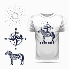 t-shirt design with Vector zebra silhouette view side and compass