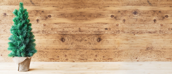Christmas Tree, Wooden Background, Copy Space