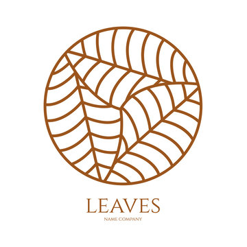 linear icon of landscape with three leaves in circle. Vector logo business emblems. logo for a ecology, health, travel, farming and yoga center.