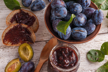 Plums with jam