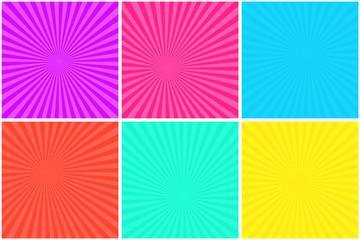 Colorful bright striped background for pop art comic bubbles. Cartoon funny retro strip mockup for comics book superhero text, speech bubble, message