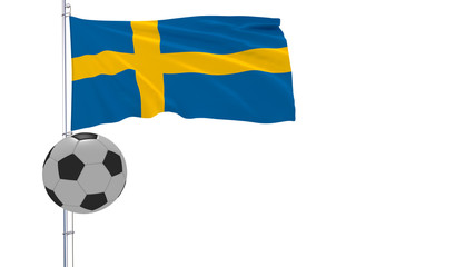 Realistic fluttering flag of Sweden and soccer ball flying around on a white background, 3d rendering.