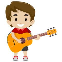 Vector Illustration of Kid Boy Holding and Playing a Guitar
