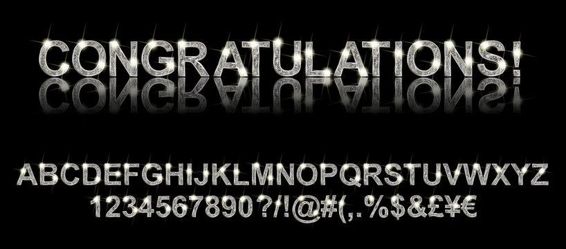 Congratulations. Silver alphabet
