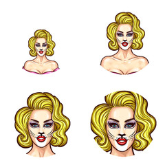 Set of vector pop art round avatar icons for users of social networking, blogs, profile icons. Young pin up sexy blonde girl with painted face, make-up woman cat