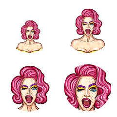 Set of vector pop art round avatar icons for users of social networking, blogs, profile icons. Young pin up sexy girl with painted face, carnival makeup