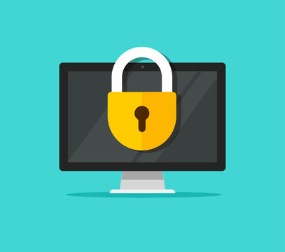 Computer security vector illustration, flat cartoon design desktop pc with closed lock, concept of firewall protection, privacy access, private data, safety service or system