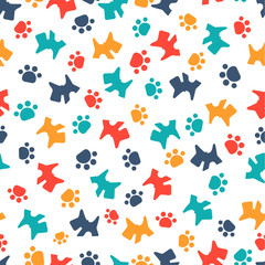 pattern with cartoon dog and paws