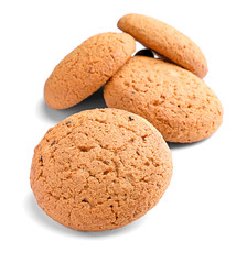 Tasty oatmeal cookies on white background