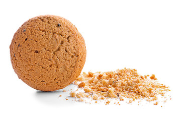 Tasty oatmeal cookie on white background