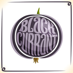 Vector logo for Blackcurrant, label with one whole black currant for package of juice or ice cream, price tag with original font for word blackcurrant inscribed in berry shape, sticker for vegan store