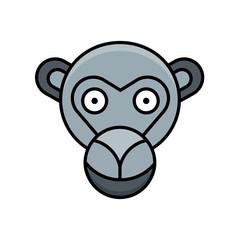 Monkey icon animal zoo vector design illustration