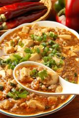 Mapo Tofu - Tofu and minced pork cooked with chili bean