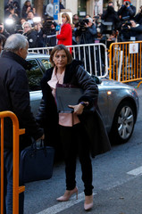 Carme Forcadell, Speaker of the Catalan parliament, arrives to Spain's Supreme Court to testify on charges of rebellion, sedition and misuse of public funds for defying the central government by holding an independence referendum and proclaiming independen