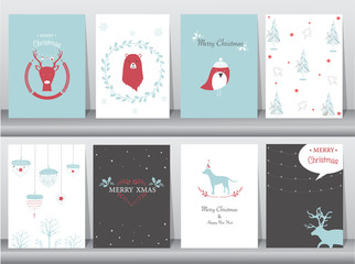 Set of cute Merry christmas  background with cute animal and winter clothes,cute animal, Vector illustrations