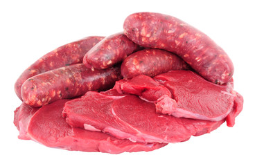 Raw venison meat steaks and sausages isolated on a white background
