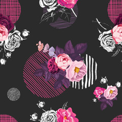 Elegant seamless pattern with half-colored bouquets of wild rose flowers and circles of different textures on black background. Vector illustration in vintage style for fabric print, wrapping paper.
