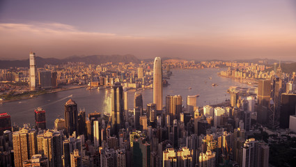 Victoria Harbor Hong Kong at sunset