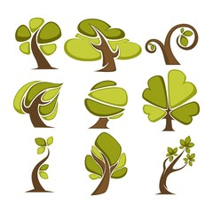 Green trees and tree leaf icons or logo templates.