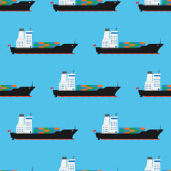 Cargo ship pattern seamless, vector illustration