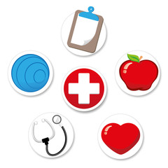 650/5000 Representing icon of welfare and health. Pilates, hospital, apple, heart, clipboard and stethoscope. Ideal for medical and institutional materials