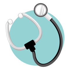 Icon representing a medical instrument, stethoscope. Ideal for medical and institutional materials